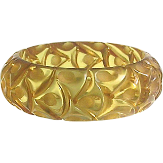 Bakelite Bangle Bracelet Carved and Stunning