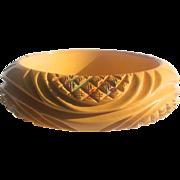 Fabulous Heavily Carved & Painted Bakelite Bangle Bracelet