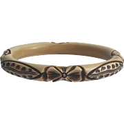 French Celluloid Bangle Bracelet Carved & Painted
