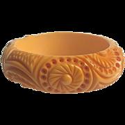 Bakelite Bangle Bracelet Heavily Carved & Fabulous