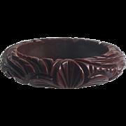 Bakelite Bangle Bracelet Heavily Carved Flowers & Leaves