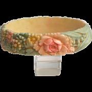 Celluloid Bangle Bangle Bracelet Japan ca. 1950 Flowers