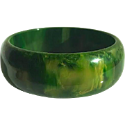 Bakelite Bangle Bracelet Gaudy Marbled Green