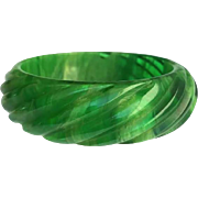Bakelite Bangle Bracelet Carved, Transparent and Heavily Marbled