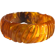 Bakelite  Bracelet Carved and Transparent Marbled