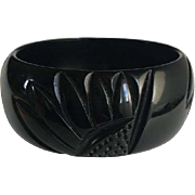 Bakelite  Bracelet Carved in True Black