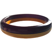 Bakelite Bangle  Bracelet Purple and Yellow Laminated