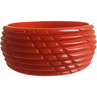 Bakelite  Bangle Bracelet Carved in Orange