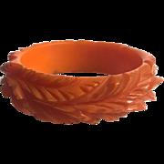Bakelite  Bangle Bracelet Super Heavily Carved