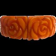 Bakelite Hinged Bracelet Heavily Carved