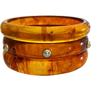 Bakelite  Bangle Bracelets Set of 3 Transparent Marbled