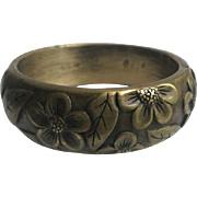 Clad Bangle Bracelet with Carved Flowers and Leaves