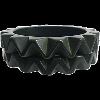 Bakelite Carved Ruffle Chunky Bangle Bracelets