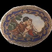 Italian Enamel  800 Silver Pillbox Scene of Lovers