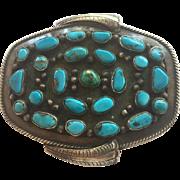 Large Signed Sterling Belt Buckle Morenci Turquoise