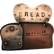 "Peggy Johnson Whimsical ""BREAD"" Pin"