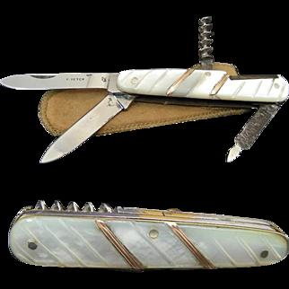 * E PETER Antique Gentleman Pearl Handled Multi blade Folder With Corkscrew and original etui. C1930