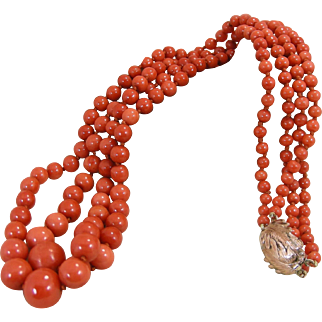 Double Strand Antique  Late Victorian Mediterranean Coral Bead Necklace – 54 grams