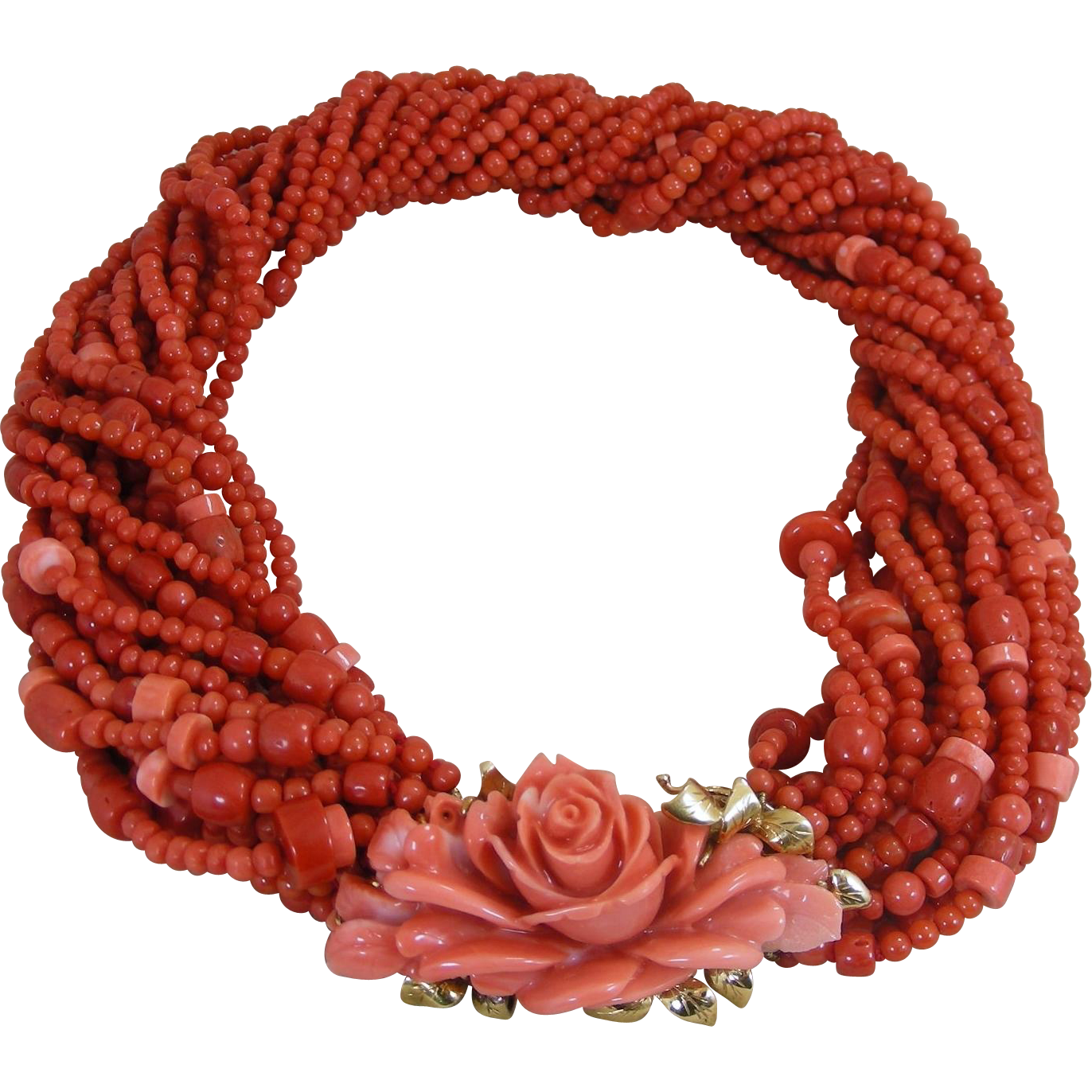 Vintage Italian Coral Torsade Multi Bead Necklace With An Important Floral Carved Clasp – 1960's
