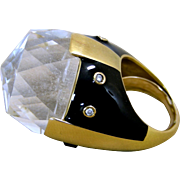 Large And Heavy Webb Style 18 Karat Yellow Gold, Enamel, Diamonds And Rock Crystal, Ladies Ring