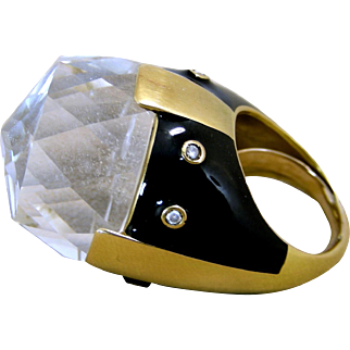 Large And Heavy Webb Style 18 Karat Yellow Gold, Enamel, Diamonds And Rock Crystal, Ladies Ring