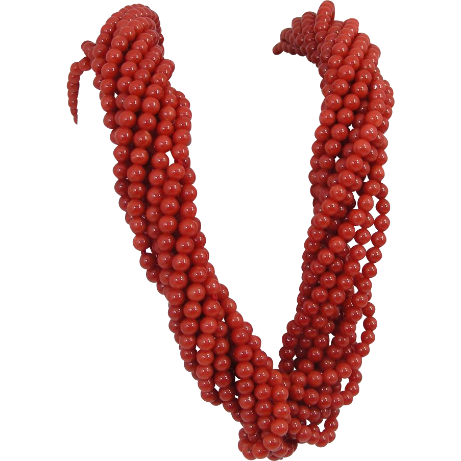 10 strand 18 k gold mounted Torsade Coral Bead Necklace. 1980's