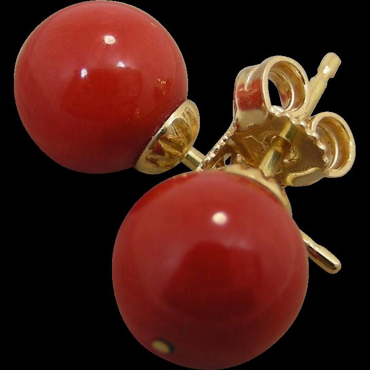 18K gold mounted 9 mm Natura Dark red Mediterranean Coral stud Earrings. 1980's