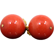 Vintage 9 mm Beads Red Mediterranean Coral 18Kt Gold Stud Earrings