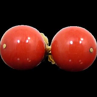 Vintage 9 mm Beads Red Mediterranean Coral 18Kt Gold Stud Earrings