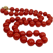Vintage 9 mm Beads Red Mediterranean Coral 18Kt Gold Mounted Necklace C1975/1980