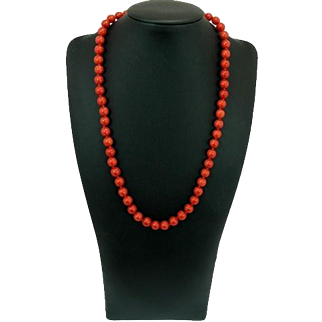 A Beautiful Necklace Strand Of Fine Sardinian Deep Red Coral. 45 grams