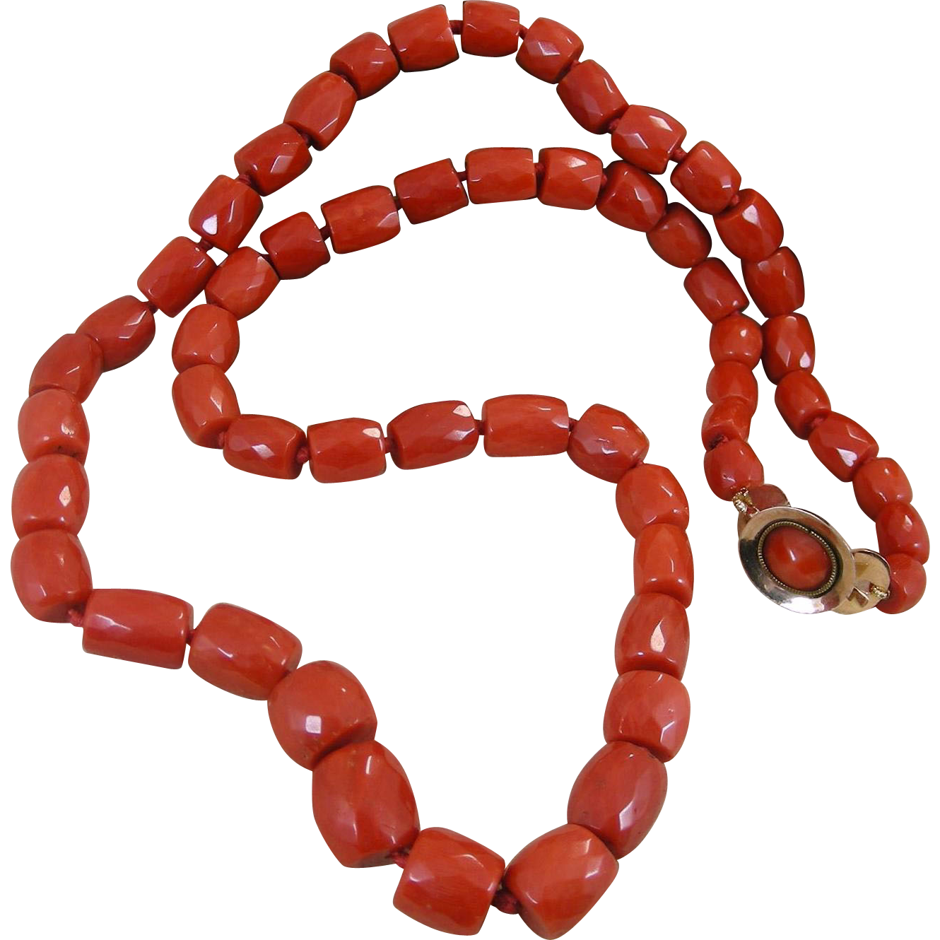 Antique Victorian Red Coral Faceted Barrels Necklace 60.30 Gr