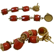 Nice Red Coral Faceted Barrels 18 Carat Yellow Gold Triple Drop Dangle Earrings
