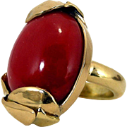 17.20 Grams Bold Antique 1920s 18K Mediterranean Blood Red Coral Cabochon Ring