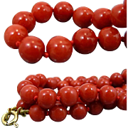 A Vintage  Deep Red Natural Mediterranean Coral Beads 18K Gold Mounted, 47 Cm Necklace. 35 Grams