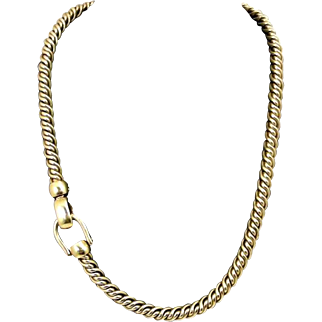 Original Pomellato 130 grams Gold Twisted Rope Chain Choker Necklace