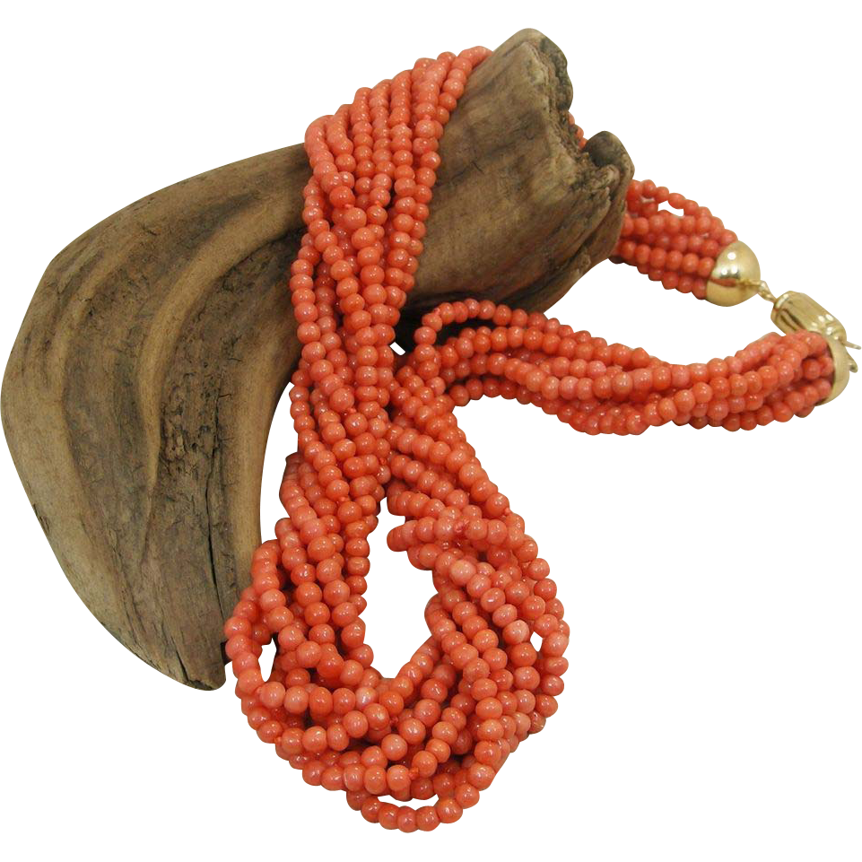 Fine Torsade 10 Strand Sciacca Coral Bead Necklace.