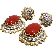Vintage Oxblood Sardinian Natural Coral 18Kt Gold Pendant Earrings With Diamonds