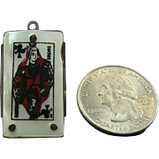 Antique French Perlex Queen of Clubs playing card Advertising Miniature Folding Knife