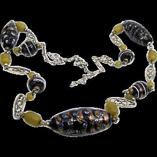Venetian Art Decò 1930's Lampwork Black Avventurina Bead Necklace MURANO