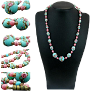 Art Decò Lampwork Murano Glass Bead *Wedding Cake* necklace