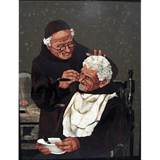 Two Monks Shaving Pietra dura Plaque by G.B.D. LAmponi, Florence, c. 1910