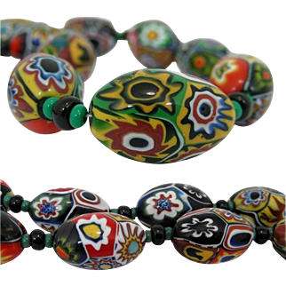 Art Deco 1930 MORETTI Millefiori Glass Bead Necklace, Murano Venezia