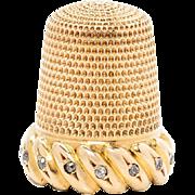 An American 18-Karat Gold and Diamond Thimble, Simons Brothers Co., Philadephia, PA. *V.C.R Dec. 18,1896*