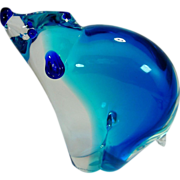 Ermanno Nason Blue  Sommerso Blown Glass Bear Murano Sculpture. 1970s