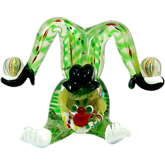 J.I. Co MADE IN ITALY VINTAGE MURANO ART HAND BLOWN GLASS CLOWN ACROBAT