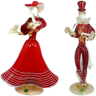 A Pair Of Murano Glass Costumed Dancing Figurines Ca 1960's