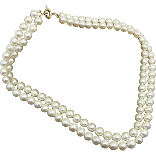 8 Mm White Cultured Salt Water Pearls Double Strand Necklace- 1970's-80's