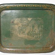 English Antique Large Tole Tray Country Life Scene 19th Century Nobili Antiques