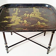 Large 19thC French Chinoiserie Tole Tray Table on Stand